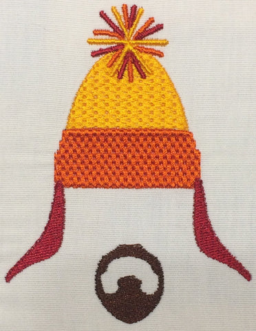 Sunset snow hat and goatee Machine Embroidery Design 4x4