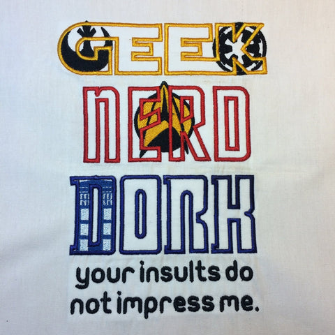 Sci Fi Geek Nerd Dork Machine Embroidery Design 6x10