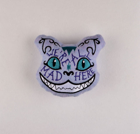 Alice in Wonderland Cheshire Cat We're All Mad Here Stuffie ITH 5x7 machine embroidery design
