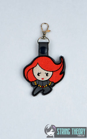 Chibi Widow snap tab key fob 4x4 machine embroidery design