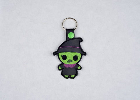 Cute Witch snap tab key fob machine embroidery design 4x4