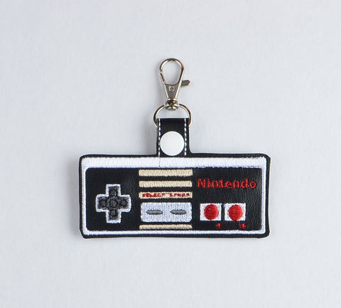 80s Game Controller snap tab key fob ITH 4x4 machine embroidery design