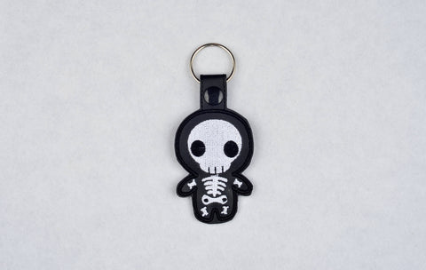 Cute Skeleton snap tab key fob machine embroidery design 4x4