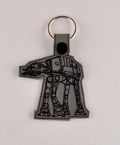 AT-AT ITH snap tab key fob 4x4 machine embroidery design
