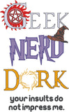 Geek Nerd Dork Paranormal variant 5x7 machine embroidery design