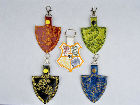 SET Minimalist Hogwarts House crest snap tabs key fobs ITH machine embroidery designs 4x4