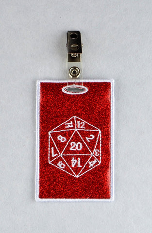D20 ID Badge holder ITH machine embroidery design 4x4