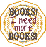 Need More Books Planner Band bookmark ITH machine embroidery design 4x4