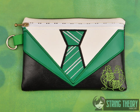 Slytherin House Tie zip bag ITH 5x7 machine embroidery design