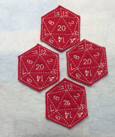 D20 feltie 4 ITH machine embroidery design 4x4