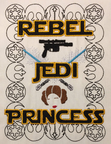 Rebel Jedi Princess machine embroidery design 5x7