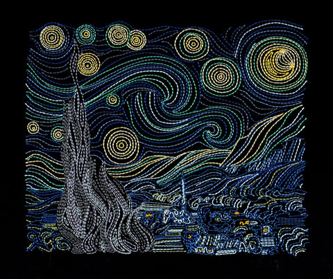 Van Gogh Starry Night 7x11 machine embroidery design