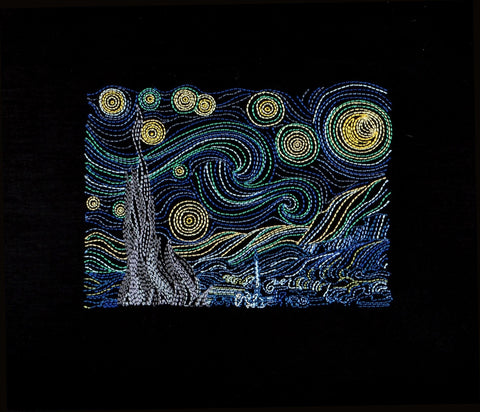 Starry Night 5x7 machine embroidery design