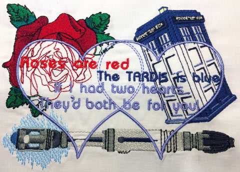 Dr. Space Whovian Poetry Machine Embroidery Design 5x7