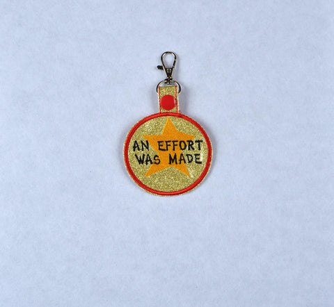 Adult Merit Badge An Effort Was Made key fob snap tab ITH embroidery pattern 4x4