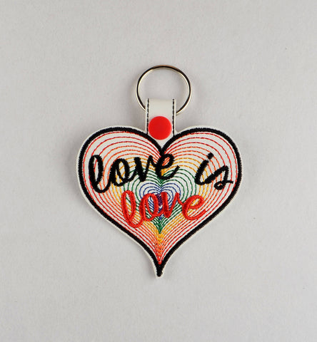 Love is love rainbow heart snap tab key fob ITH 4x4 machine embroidery design