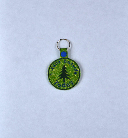 Adult Merit Badge Went Outside Today key fob snap tab ITH embroidery pattern 4x4