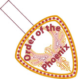 Order of the Phoenix snap tab key fob ITH 4x4 machine embroidery design
