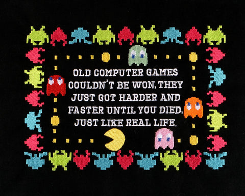 Arcade games are like real life 5x7 machine embroidery design