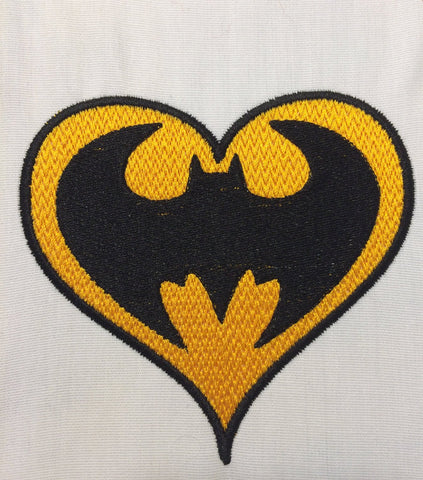 Batman heart machine embroidery design 4x4 and 2.5x2.5