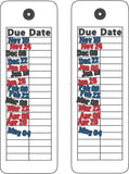 Library card due date traditional book mark 2ITH 5x7 machine embroidery design