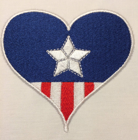 Captain USA Hearts  Machine Embroidery Design 4x4 and 2.5 x 2.5