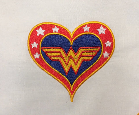 Fabulous Lady Hero heart machine embroidery design 4x4 and 2.5x2.5