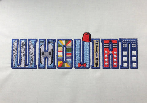 Whovian machine embroidery design 5x7