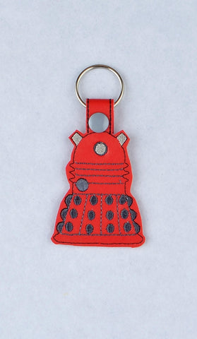 Dalek key fob snap tab ITH machine embroidery design 4x4