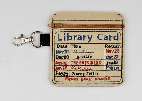 Library card zipper bag ITH 4x4 machine embroidery design