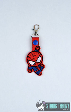 Chibi Spider Guy snap tab key fob ITH 4x4 machine embroidery design