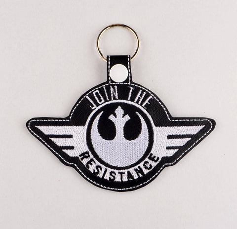 Star Battles Join the Good Team snap tab key fob 4x4 ITH machine embroidery design