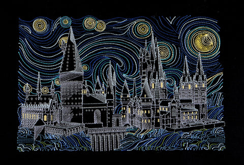 Starry Hogwarts 8x12 machine embroidery design