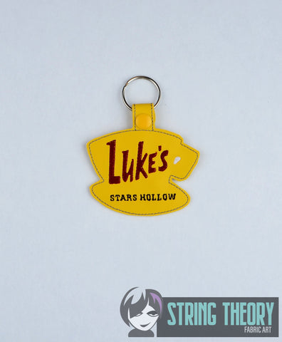 Luke's coffee cup sign snap tab key fob ITH 4x4 machine embroidery design