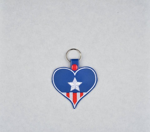 Captain USA heart snap tab key fob machine embroidery design 4x4 ITH