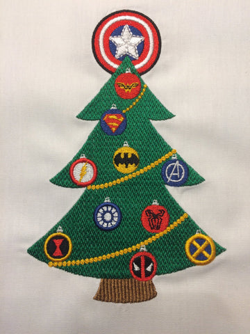 Superhero Christmas Tree embroidery design 5x7