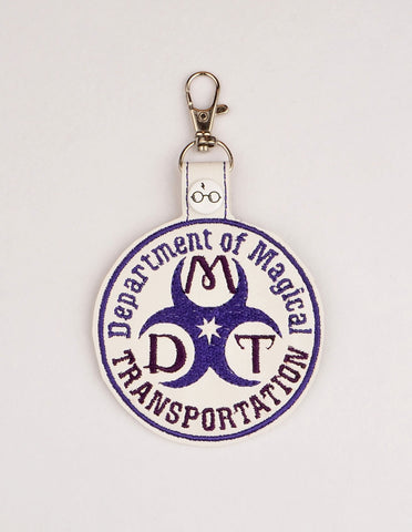 Department of Magical Transportation snap tab key fob ITH 4x4 machine embroidery  design