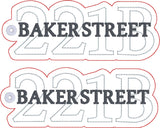 Sherlock Holmes 221B Baker Street Traditional bookmark 2ITH 5x7 machine embroidery design