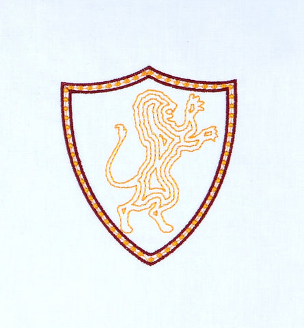 LION COAT OF ARMS SPELL ACADEMY machine embroidery design 4x4