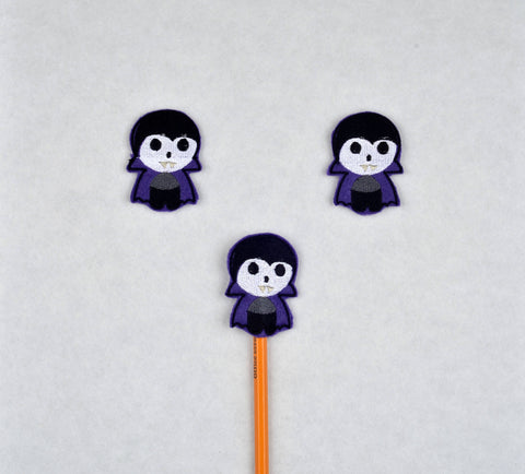 Cute Vamp pencil topper 3 ITH machine embroidery design 4x4