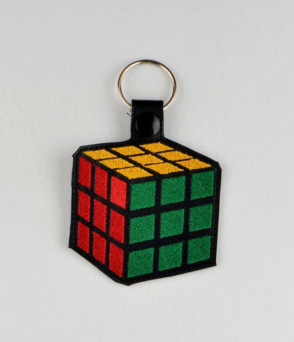 Rubik's cube snap tab key fob ITH 4x4 machine embroidery design