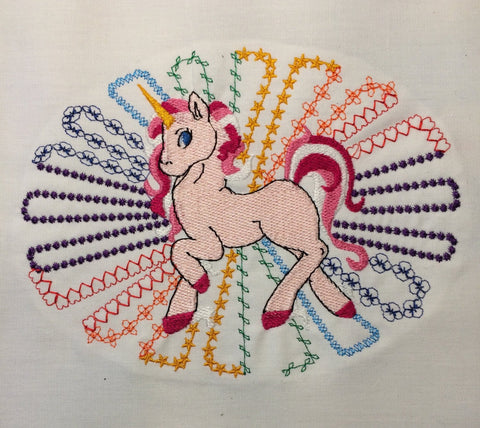 Unicorn Rainbow machine embroidery design 5x7