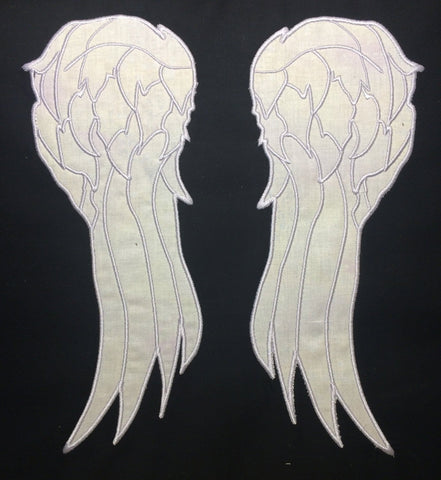 Wings appliqué split hoop machine embroidery design 8x12