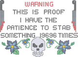Warning I have the patience cross stitch sampler 5x7 machine embroidery design