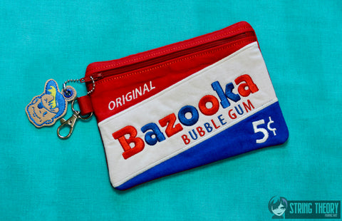 Bazooka Joe Zip Bag Fully Lined 5x7 with dangle ITH MACHINE EMBROIDERY DESIGN