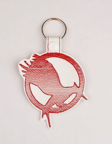 Food Fight Catching Fire snap tab key fob ITH 4x4 machine embroidery design