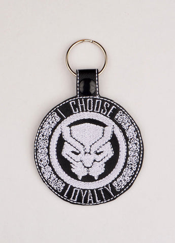 Black Panther I choose loyalty snap tab key fob ITH 4x4 machine embroidery design