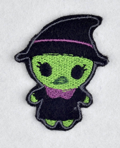Cute witch feltie 4 ITH machine embroidery design 4x4