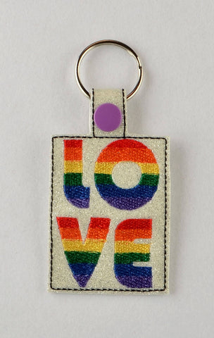 Rainbow love snap tab key fob ITH 4x4 machine embroidery design