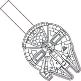 Millennium Falcon snap tab key fob ITH 4x4 machine embroidery design